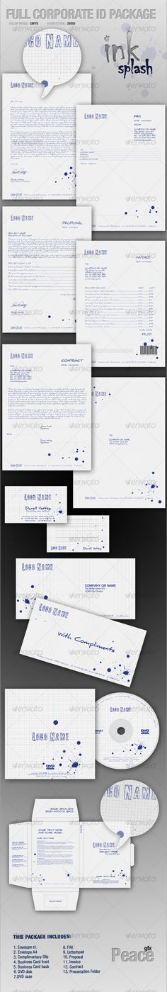 FULL CORPORATE ID PACKAGE - ink splash  #GraphicRiver         FULL CORPORATE ID PACKAGE – Ink SPLASH Corporate Identity is perfect way to create complete corporate style vitally important for any business. This is a High Quality package of complete printer-ready files for all the stationery needs of a business.   This Package contains:   •  Adobe Photoshop CS4 *300dpi CMYK , fully editable 13 files. •  Adobe Illustrator CS4 *300dpi CMYK , fully editable 13 files.   THE PROJECTS :   1…