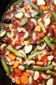 Slow Cooker Minestrone Soup Recipe on twopeasandtheirpod.com One of our favorite slow cooker recipes!
