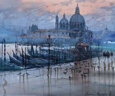 watercolor.Venice reflection.private collection