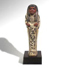 Arte antiguo | Bicromo egipcia Loza Shabti de la Señora de la Casa - El Ojo del Curador