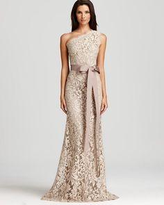 Tadashi Shoji Lace Gown - One Shoulder Women - Dresses - Bloomingdale's Mother Of The Bride Dresses Long, Mothers Dresses, Older Bride Dresses, Long Mothers Dress, Mob Dresses, Bridesmaid Dresses, Wedding Dresses, Elegant Dresses, Pretty Dresses