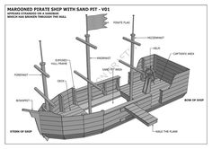 MAROONED PIRATE BOAT WITH SAND PIT - CUBBY PLAY HOUSE - Building Plans V1