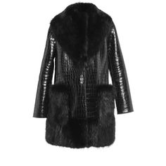 Dolce & Gabbana Crocodile Coat With Beaver Fur Trim ($330,000) ❤ liked on Polyvore featuring outerwear, coats, fur-trimmed coat, dolce gabbana coat, dolce&gabbana and lapel coat