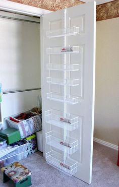 ideas craft room closet organization life for 2019 Closet Door Storage, Craft Closet Organization, Craft Room Storage, Closet Doors, Bathroom Storage, Storage Ideas, Storage Solutions, Organizing Ideas, Pantry Doors
