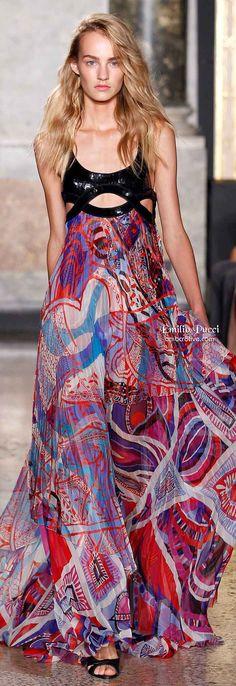 Emilio Pucci Spring 2014 multicolored dress #UNIQUE_WOMENS_FASHION http://stores.ebay.com/VibeUrbanClothing