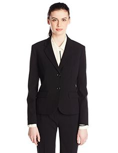 Nine West Womens 2 Button Bi Stretch Notch Suit Jacket Black 2 *** You can get additional details at the image link.