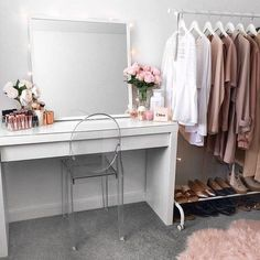 My little makeup space <3 Ikea Malm dressing table, mirror and clothing rack.