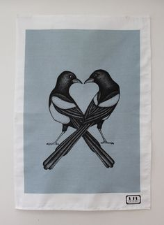 Grey/blue 'Two For Joy' Magpies Original Designer by 3OnTheShelf, £12.00