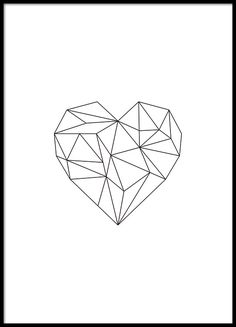Print with a geometric heart in black.