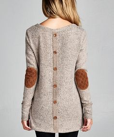 Love this Mocha Elbow Patch Button-Back Tunic on #zulily! #zulilyfinds