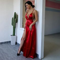 Straps Prom Dresses, Homecoming Dresses, Prom Outfits, Preppy Fall Outfits, Gown With Slit, Red Silk Dress, Popular Dresses, Evening Dresses, Criss Cross