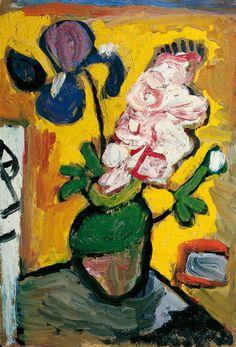 Gabriele Münter (German, 1877 - Iris und Hyazinthe oil on thin wooden board 41 x 27 cm Art Floral, Cavalier Bleu, George Grosz, My Art Studio, Artist Art, New Art, Flower Art, Painting & Drawing, Art Images