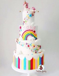 60 Simple Unicorn Cake Design Ideas These trendy Unicorn ideas would gain you amazing compliments. Check out our gallery for more ideas these are trendy this year. Unicorne Cake, Cake Tins, Cupcake Cakes, Beautiful Cakes, Amazing Cakes, Unicorn Cake Design, Birthday Cake Girls, Birthday Design, Rainbow Birthday Parties