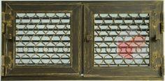 Krbová mřížka grafitová antik RETRO 440x220 se žaluzií - otvír.