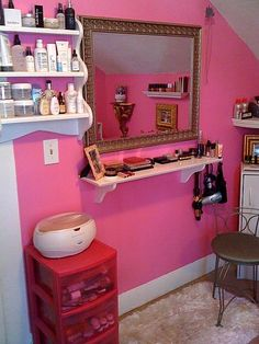 just hang a shelf under a big mirror and pull up a chair = vanity for small spaces.