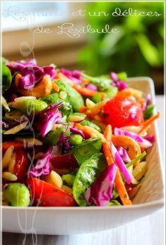 les milles & un délices de ~lexibule~: ~Salade d'orzo à l'asiatique~ Saveur, Salsa, Cabbage, Vegetables, Ethnic Recipes, Food, Salads, Eat, Cooker Recipes