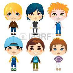 Seis chicos lindos de diversos grupos �tnicos con diferentes estilos de la ropa photo