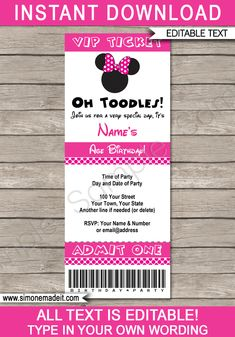 Minnie Mouse Blank Invitation Template Best Of Minnie Mouse Ticket Invitation Template Photos Minnie Mouse Theme Party, Minnie Mouse Birthday Invitations, Minnie Mouse First Birthday, Printable Birthday Invitations, Mouse Parties, Unique Invitations, Online Invitations, Minnie Mouse Template, Ticket Invitation
