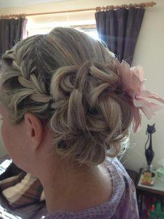 Boho Bun with French braid. Hair, hairup, bridesmaid, curls, up do