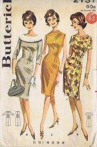 Butterick Pattern  Pattern Number 2137  Copyright: 1960's    Vintage 60s One Piece Sheath Dress Pattern With Princess Lines    A. Princess Sheath Dress pattern with off-the-neck round contrast collar (trimmed to match Dress).  Set-in below elbow sleeves.  B. Shallow neck version with short sleeves, no collar.  C. Sleeveless version with self-banded jewel neckline.