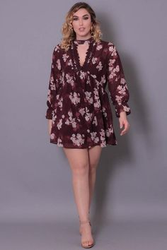 52a9d2c333f Plus Size Mini Chiffon Floral Dress - Burgundy Floral Chiffon Dress