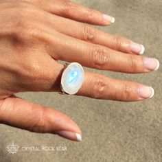 CrystalRockStar.com Rainbow Moonstone Horizontal Design Statement Ring Cocktail Size 7 | Sterling Silver Blue Flash Oval - Emotional Balance and Protection Ring