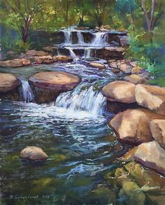Flowing Water by Brian Sauerland Pastel ~ x Watercolor Landscape Paintings, Landscape Drawings, Landscape Art, Bird Paintings, Watercolor Trees, Indian Paintings, Watercolor Portraits, Abstract Paintings, Watercolor Painting