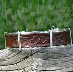 """""""Mountain Rose"""" Sculpted Leather Cuff - by Deborah & Russell Shamah"""