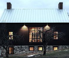 Vintage barn frame addition to Dutch stone house - farmhouse - exterior - boston - KATE JOHNS AIA Black House Exterior, Stone Exterior Houses, Exterior House Colors, Exterior Design, Siding Colors, Facade Design, House Exteriors, Modern Barn, Modern Farmhouse