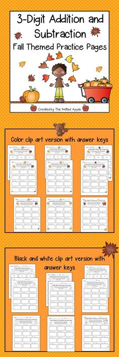 3-digit addition and subtraction practice pages (with and without regrouping)
