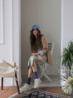 Drop Shoulder V-Neck Knit Sweater Korean Outfit Street Styles, Asian Street Style, Korean Street Fashion, Korea Fashion, Korean Outfits, Asian Fashion, Modest Fashion, Girl Fashion, Fashion Outfits