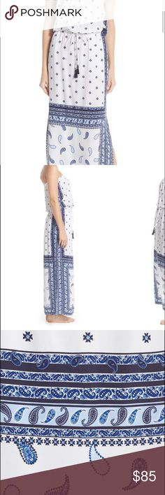Tommy Bahama silk strapless maxi in paisley print Tommy Bahama silk strapless maxi in a blue paisley print. Dress has never been worn tags still attached. Adjuistable waist with tie and  open slits on the leg. Dress up or down because it's silk! Accepting all offers Tommy Bahama Dresses Maxi