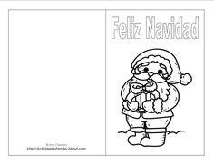 Tarjetas de navidad para imprimir: Tarjeta de navidad de Viejo Pascuero (Santa Claus)