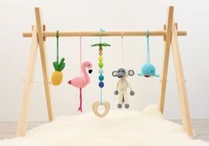 Tropical Baby play gym READY TO SHIP Flamingo Pineapple Monkey Whale Wooden palm tree with rainbow beads Solid wood gym frame Baby Toys, Baby Play, Bebe Gym, Mobiles, Diy Baby Gym, Palm Tree Crafts, Play Gym, Newborn Gifts, Handmade Baby