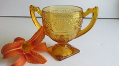 Amber Depression Glass Sugar Bowl Pedestal by ReVintageLannie