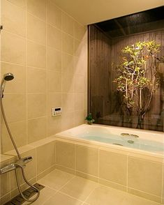 "48 Likes, 1 Comments - TileLife(タイルライフ) (@tilelife.co.jp) on Instagram: "". 床と壁を落ち着いた色調のタイルで仕上げたバスルーム . バスコートで癒されます♪ . 『 鎌倉の家1 』#Sデザイン設計 一級建築士事務所 . . #バスルーム#浴室 #bath #和モダン…"""