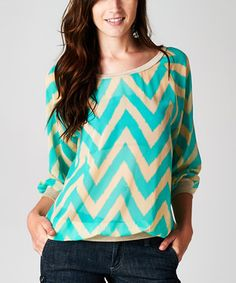 Look what I found on #zulily! Teal & Beige Zigzag Blouson Top by Tua #zulilyfinds
