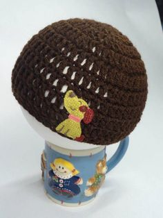 Newborn Crochet Hat in Brown  with Dog Applique by toppytoppy, $12.99