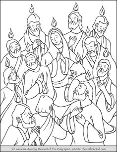 The 3rd Glorious Mystery Coloring Page – The Descent of the Holy Spirit (Pentecost): The Holy Spirit descends onto the Apostles and Mary on Pentecost as tongues of fire.