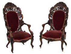 Matched Pair of Laminated Rosewood Rococo Victorian Armchairs In The Tuthill King Pattern -c. 1850