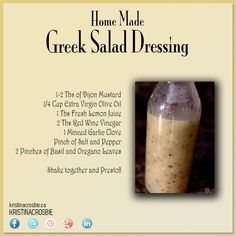 For dad-Homemade Greek Salad Dressing! Salad Dressing Recipes, Salad Recipes, Healthy Salads, Healthy Recipes, Homemade Dressing, Greek Salad, Sauces, Greek Recipes, Soup And Salad