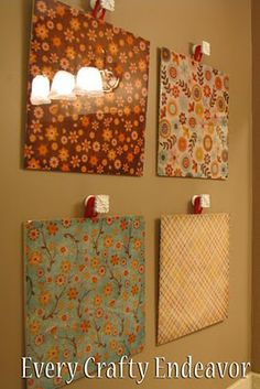 Scrapbook paper made into wall art.