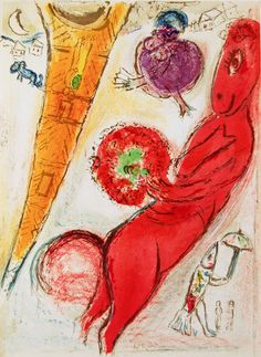 Marc Chagall - Eiffel Tower with Donkey (M. 97). Original color lithograph, 1954.