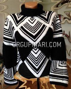 PÜSKÜLLÜ KAZAK – Örgü Pınarı Crochet Cardigan, Knit Crochet, Knitting Accessories, Crochet Clothes, Knitwear, Knitting Patterns, Sweaters, How To Wear, Fashion