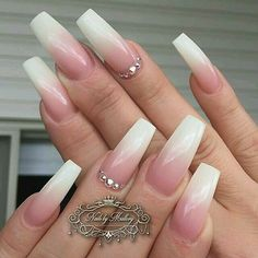 French ombre nail designs 2019 elegant coffin nails ombre nails nails with rhinestones acrylic nails Ombre Nail Designs, Best Nail Art Designs, Acrylic Nail Designs, Acrylic Nails, French Fade Nails, Faded Nails, Bridal Nails, Wedding Nails, Nails Yellow
