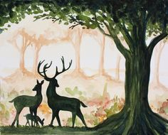 ART PRINT - 8x10 Giclee of Original Watercolor Painting by Jessi Lynn - Woodland Deer Family - Nature Animal Deer Hunting Buck Tree Trees. $19.95, via Etsy.