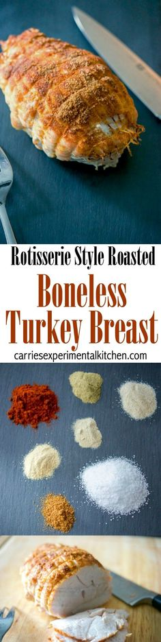 Boneless turkey breast seasoned with rotisserie seasonings including paprika, thyme, garlic and onion powder, salt, white and cayenne pepper.   #thanksgiving #turkey #sundaydinner via @CarriesExpKtchn