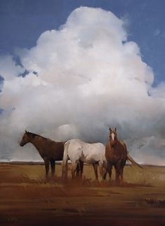 """Open Range"" oil by Joseph Alleman, Utah-based, young contemporary artist Cumulus, Watercolor Horse, Animal Paintings, Horse Paintings, Pastel Paintings, Cowboy Art, Horse Drawings, Landscape Paintings, Abstract Landscape"