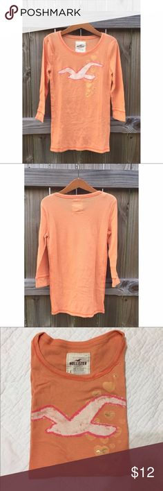 🆕 Hollister Tee 🆕 Hollister | HCO | Large | Light Orange | 3/4 Length Tee | Perfect Condition! Hollister Tops