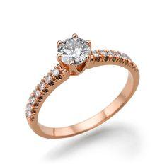 Diamond Engagement Ring 14K Rose Gold Solitaire by DiamondsMine, $1,170.00